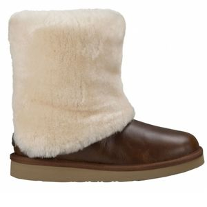 UGG Patten Boot Leather Sheepskin Cuff Sz10